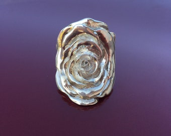 Hand Engraved Stunning Rose Silver Ring
