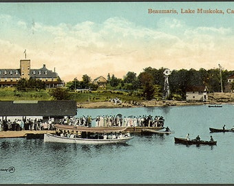 Beaumaris , Lake Muskoka. Print of 1910 postcard. Antique vintage art print, wall decoration, cottage decor.