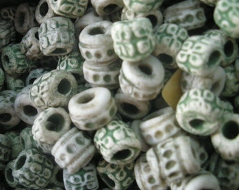 20 Ceramic Clay Green Spacer Beads/ Handcrafted In America Necklace/ Findings Jewelry Supplies BE116