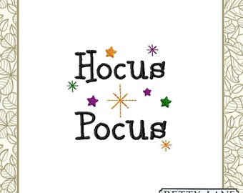 Hocus Pocus, Stars, Spells, Magic Dust, Halloween Embroidery Design in 9 Formats.  For the 4x4 and 5x7 hoop. INSTANT DOWNLOAD