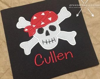 Skull and Crossbones Applique Shirt / Skeleton Shirt / Halloween Shirt / Personalized Skeleton Shirt / Pirate Applique Shirt / Boy Shirt