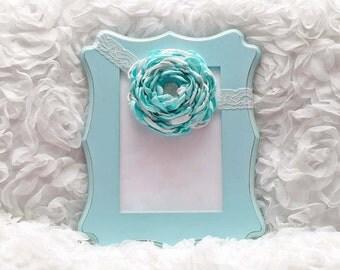 White/Mint Satin Flower Headband, Flower Headband, Satin Flower, Hair Accessory, Baby/Girl Flower Headband, Ready to Ship
