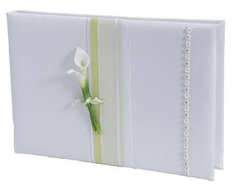 Porcelain Calla Lily Guest Book & Pen Set for Wedding, Anniversary, Party, General Use