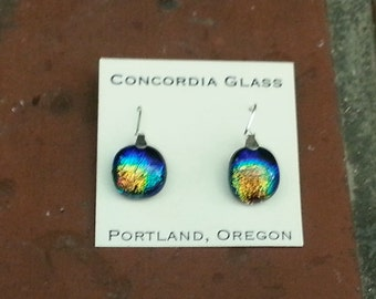 rainbow dichroic glass earrings set in sterling silver