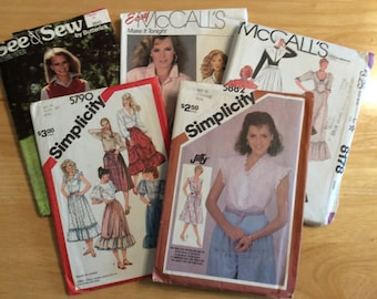 Vintage clothing patterns for shirts and dresses