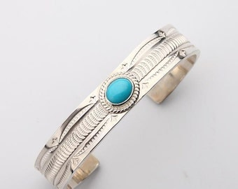 Silver Turquoise Bangle | Engraved Silver Bracelet | Native American Inspired | Open Silver Bangle | Cuff Bracelet | Birthstone Bangle Cuff