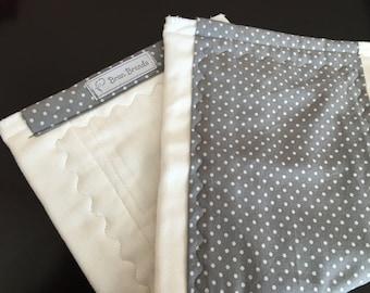 Grey Polka dot Burp Cloth
