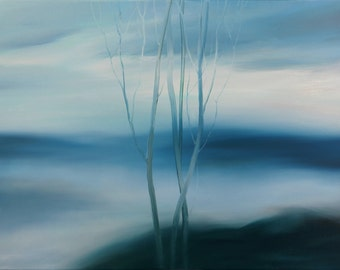 Original Oil Abstract Painting. Abstract Hazy Landscape. Blue abstract art. Free Shipping.