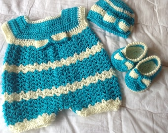 Crochet Romper, Beanie and Booties set in Aqua and Cream