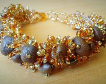 hand beaded bracletts made with coffee beans