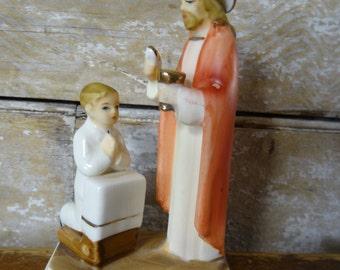 Vintage First Holy Communion Jesus and Little Boy Ceramic Figurine