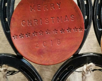 Leather hammered Christmas ornaments- custom available