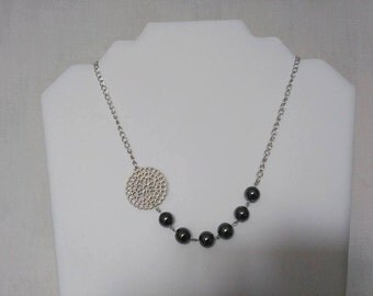 Gem stone Necklace: Hematite super bright (10mm) very chic