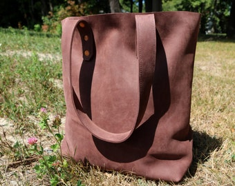 Handmade Distressed Brown Leather Tote Bag - Maine, School, Shopping, Luggage, Travel,