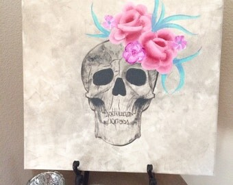 Acrylic Painting Skull and Flowers - 12x12 Canvas