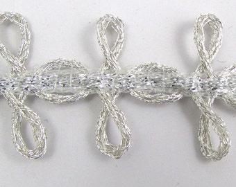 "Trim with Looped Silver Bullion Thread, 1"" Wide -Sold by the Yard- 14980"