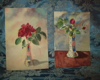 2 old small watercolours representative of roses