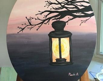 Original - Lantern at Sunset - Acrylic Painting on Canvas by Paula B. (Paula Beck) 16x20 Oval