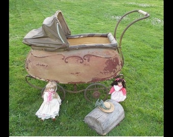 Antique baby stroller to 1900 shabby