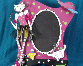 Pink 3D Dresses Up Cat Frame
