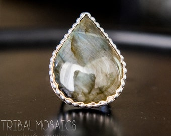 Teardrop Labradorite and Sterling Silver Ring