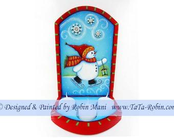 299 Lighting the Way Snowman Decorative Painting Pattern