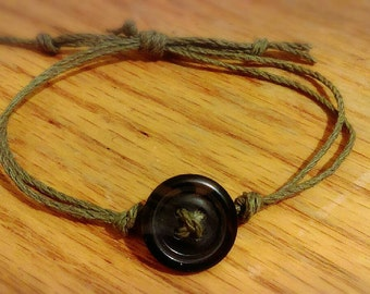 Hemp Cord and Button Bracelet
