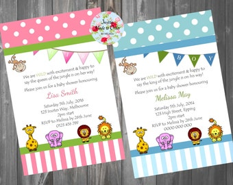 Baby Shower Invitation Jungle animals elephant, lion, giraffe, monkey, blue or pink