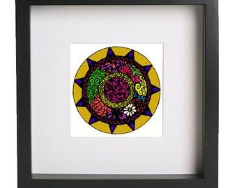 Mandala inspired. Printable art, digital print, black and white print, ethnic contemporary art