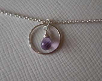 Wire wrapped amethyst briolette necklace