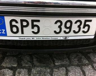 MINI Cooper stickers for plate