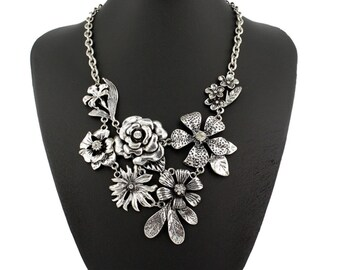 Vintage Flower Statement Necklace