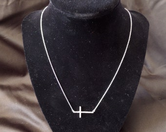 Vintage Sterling Silver and Diamond Cross Necklace
