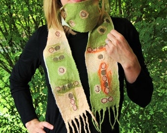 """Olive & Twist Nuno Felted Scarf - green and peach merino with """"olive"""" printed silk mosaics, wearable art, made in USA"""