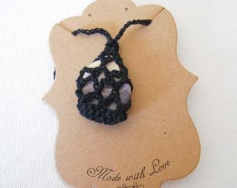 Black Crochet Shell Necklace (B2)