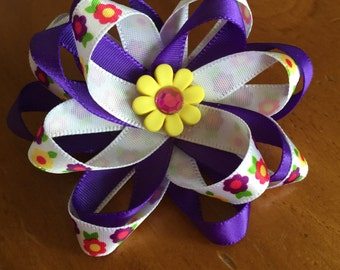 Purple flowered bow