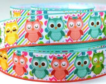 "1"" Owl - Pretty Pastel Colored Owls - Printed Grosgrain Ribbon"