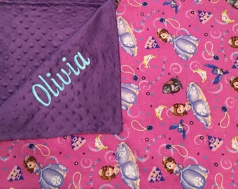 Personalized Sofia the First minky blanket, Baby Gift, Nursery Blanket, Toddler Bedding, Nursery Blanket, Crib Bedding