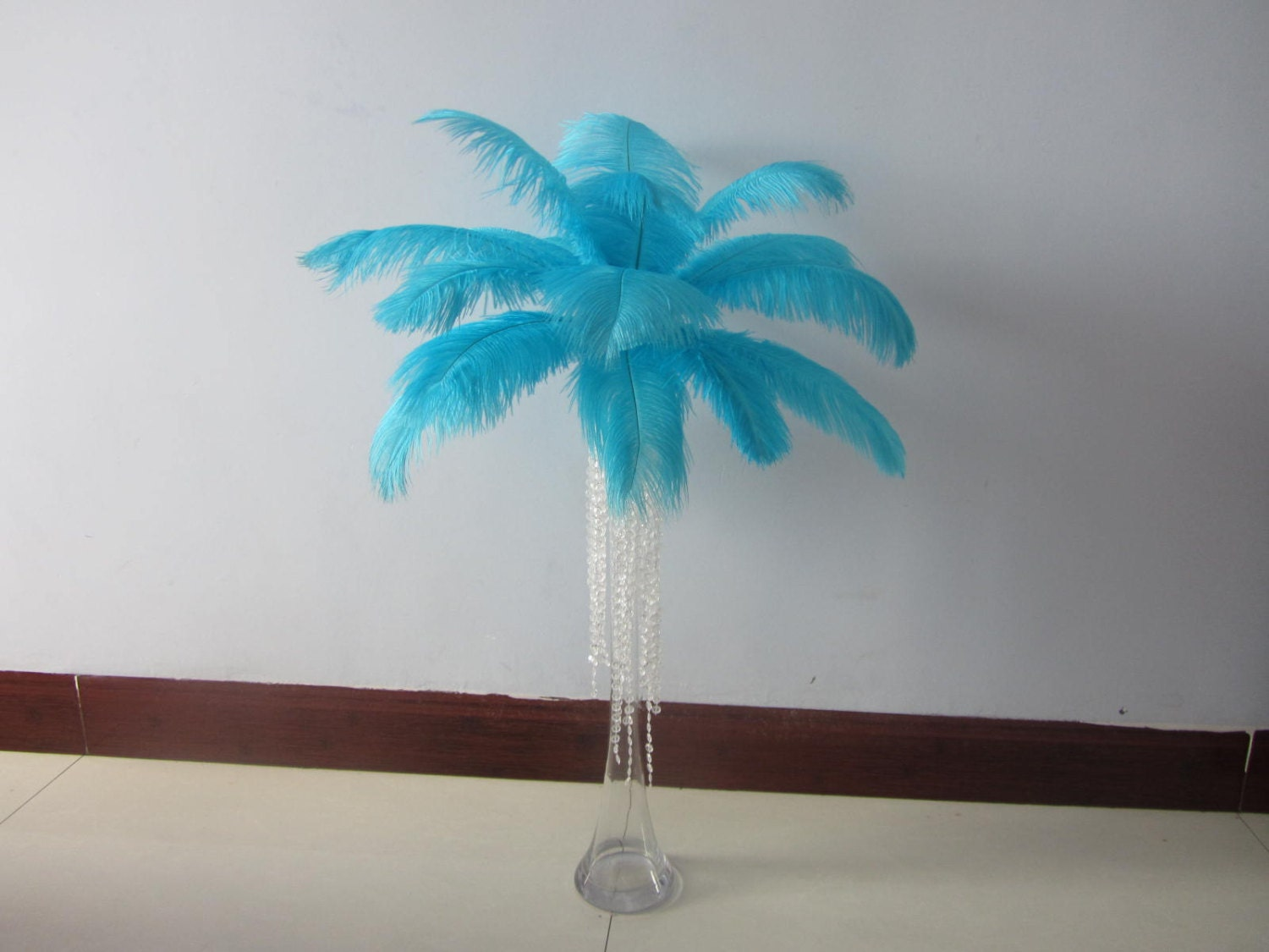 Aqua light blue ostrich feathers for handmade items