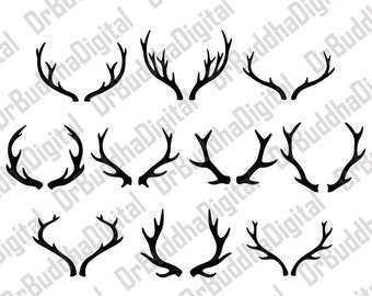 Sale! Deer Antler SVG Collection - Deer Horn DXF - Antler Clipart - SVG Files for Silhouette Cameo or Cricut