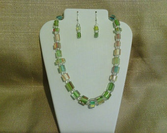 248 New Modern Green, Blue, Orange and White Cane Glass Beads Beaded Necklace