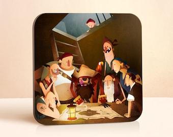 Secret Treasure Coaster | Pirate Coaster | Kids Coaster | Gift for Him | Gift for Her | Gift For Kids | Wood Coasters | Drink Coasters