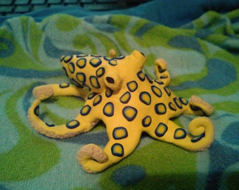 Blue ringed octopus polymer clay sculpture