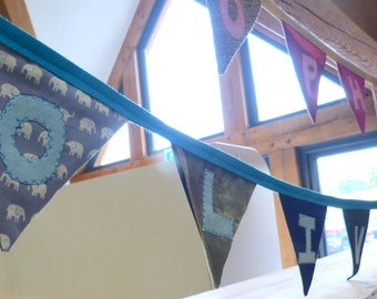 """Personalised Name Fabric Bunting """"Oliver"""" Boys"""