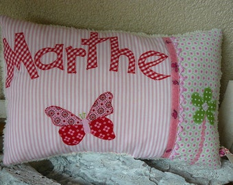 Cuddly pillow Butterfly with flower and name