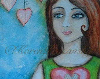 Art Print : Holding My Heart; Acrylic Painting; Fits Standard Size Frame; Heartfelt Gift