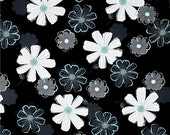 Large Floral Black/Teal Fabric, Fabric by the Yard, Fat Quarter, Quilting Fabric, Sewing Fabric, Apparel Fabric, Teal Fabric, Floral Fabric