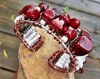 Rustic Tribal Red and White Bangle Bracelet