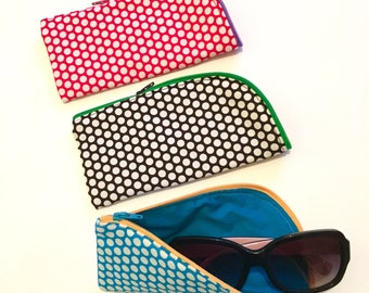 Zipped Glasses / Sunglasses Case with Polka Dot Design