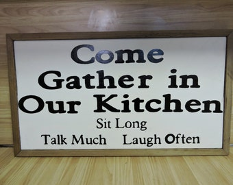Kitchen Sign, Hand Painted Wood Kitchen Sign, Eat Sign, Kitchen Wall Decor